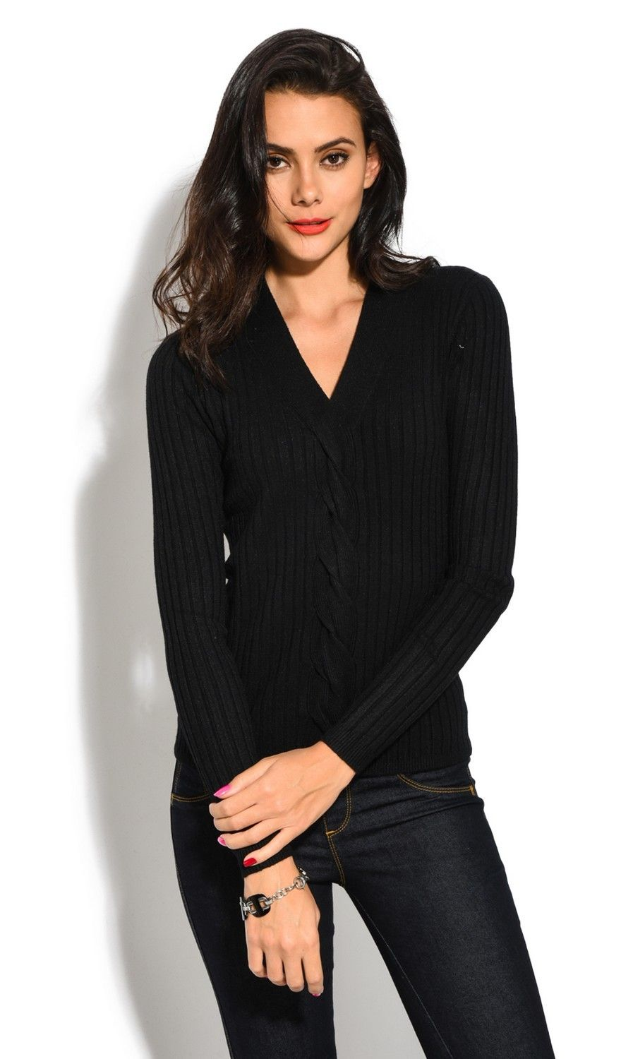 Assuili V-neck Long Sleeve Ribbed Sweater in Black