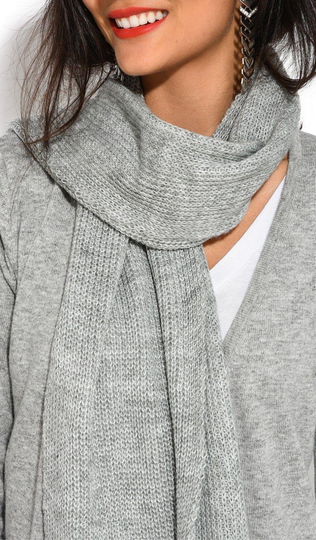 Assuili 4 Yarn 200x30cm Scarf in Grey