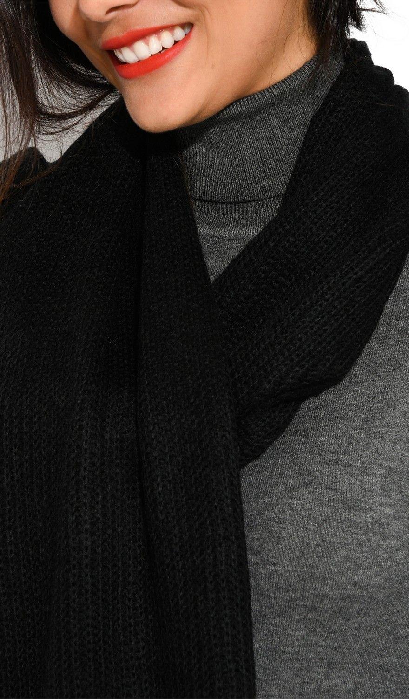 Assuili 4 Yarn 200x30cm Scarf in Black
