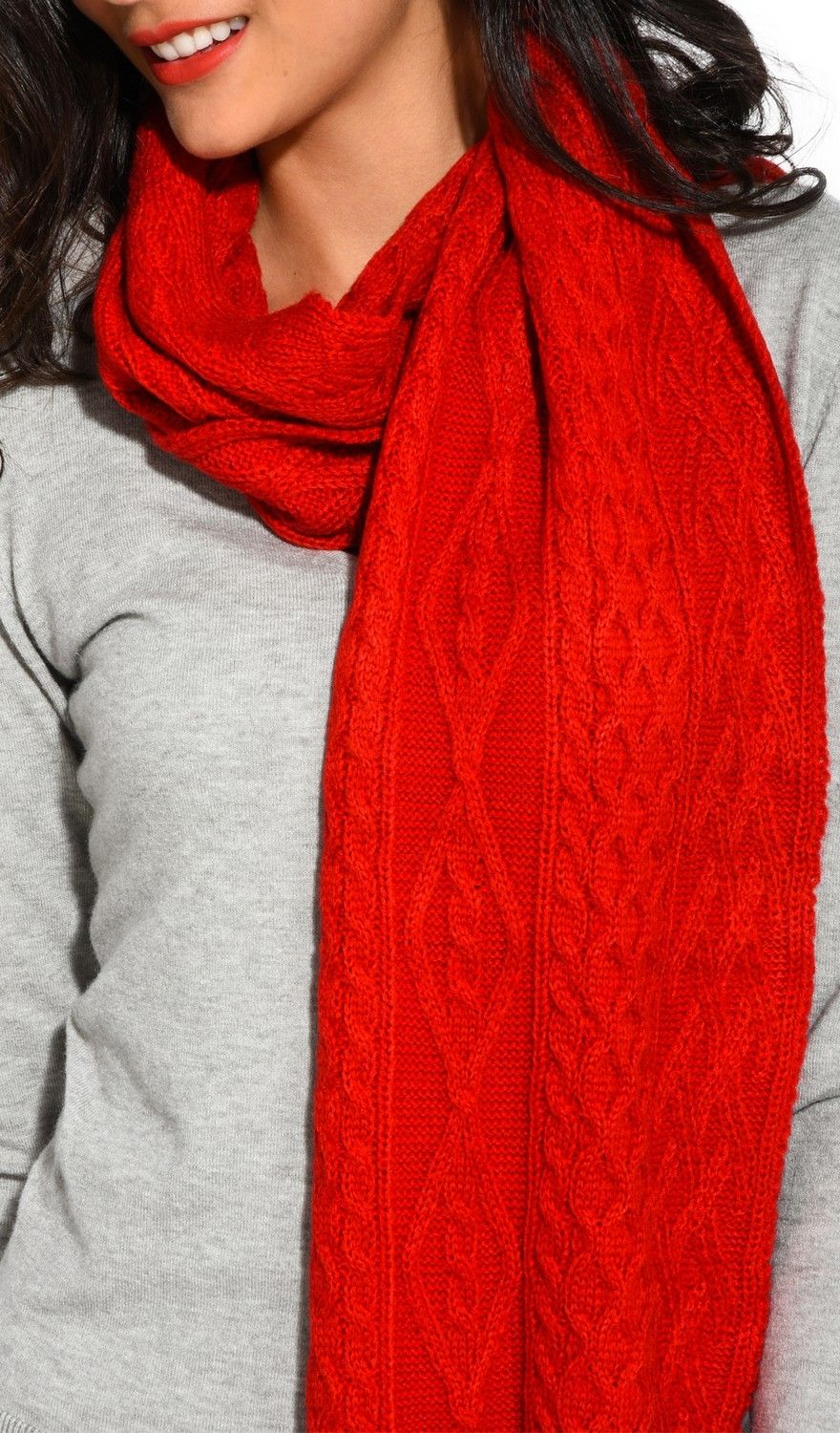 Assuili Twisted 4 Yarn 200x30cm Scarf in Red
