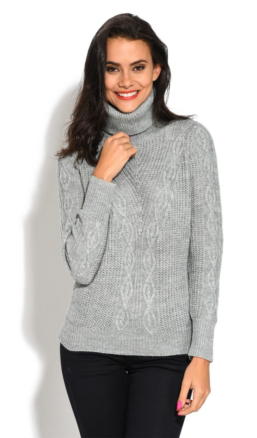 Assuili Roll Neck Long Sleeve Ribbed Sweater in Grey