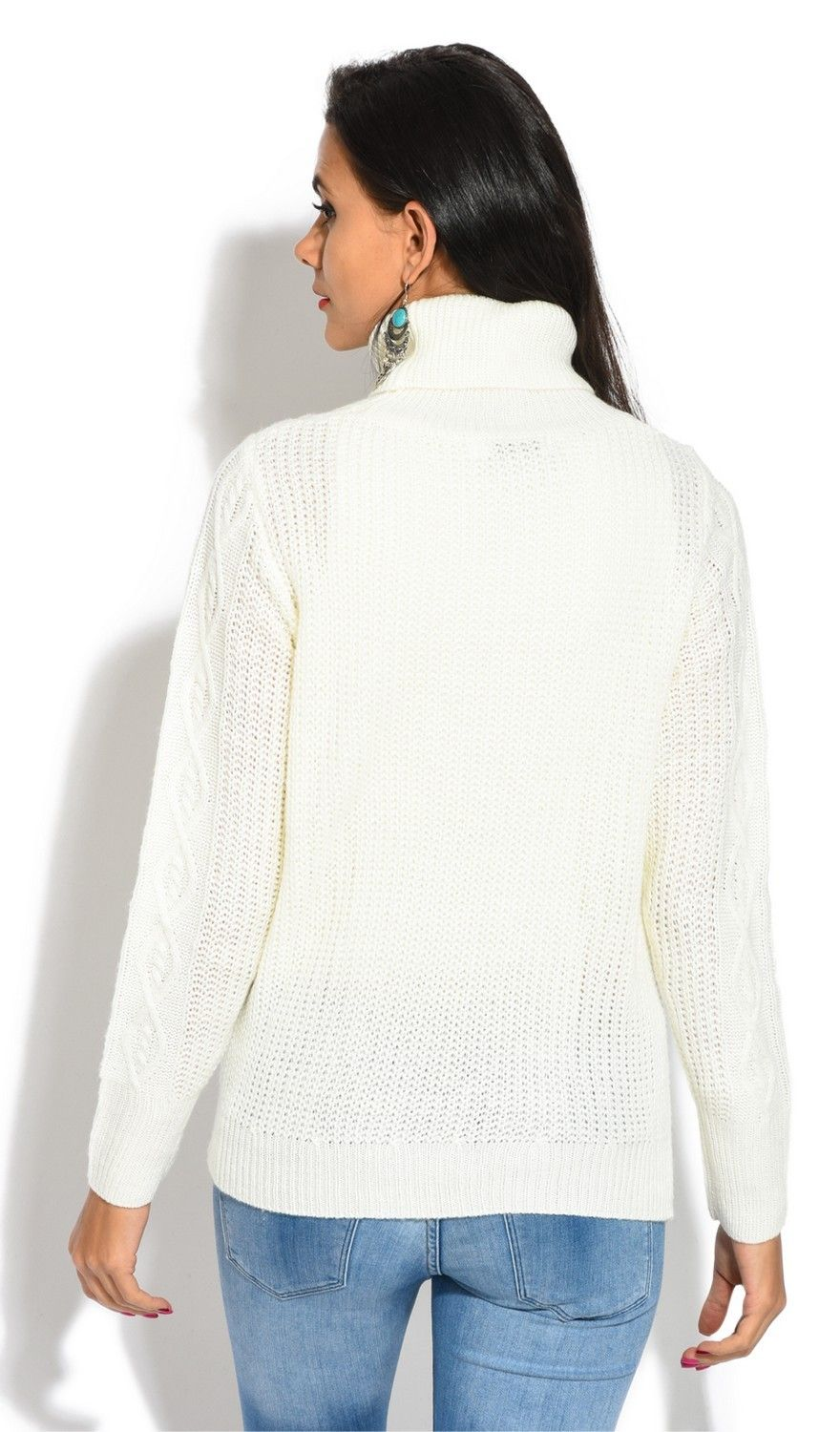 Assuili Roll Neck Long Sleeve Ribbed Sweater in Natural