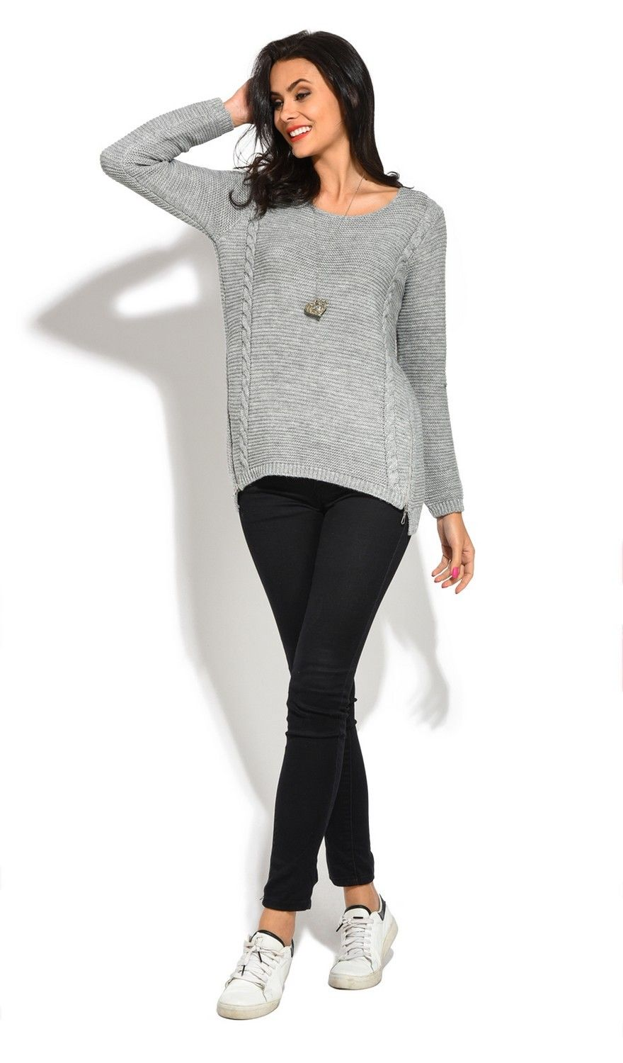 Assuili Round Neck Long Sleeve Ribbed Sweater in Grey
