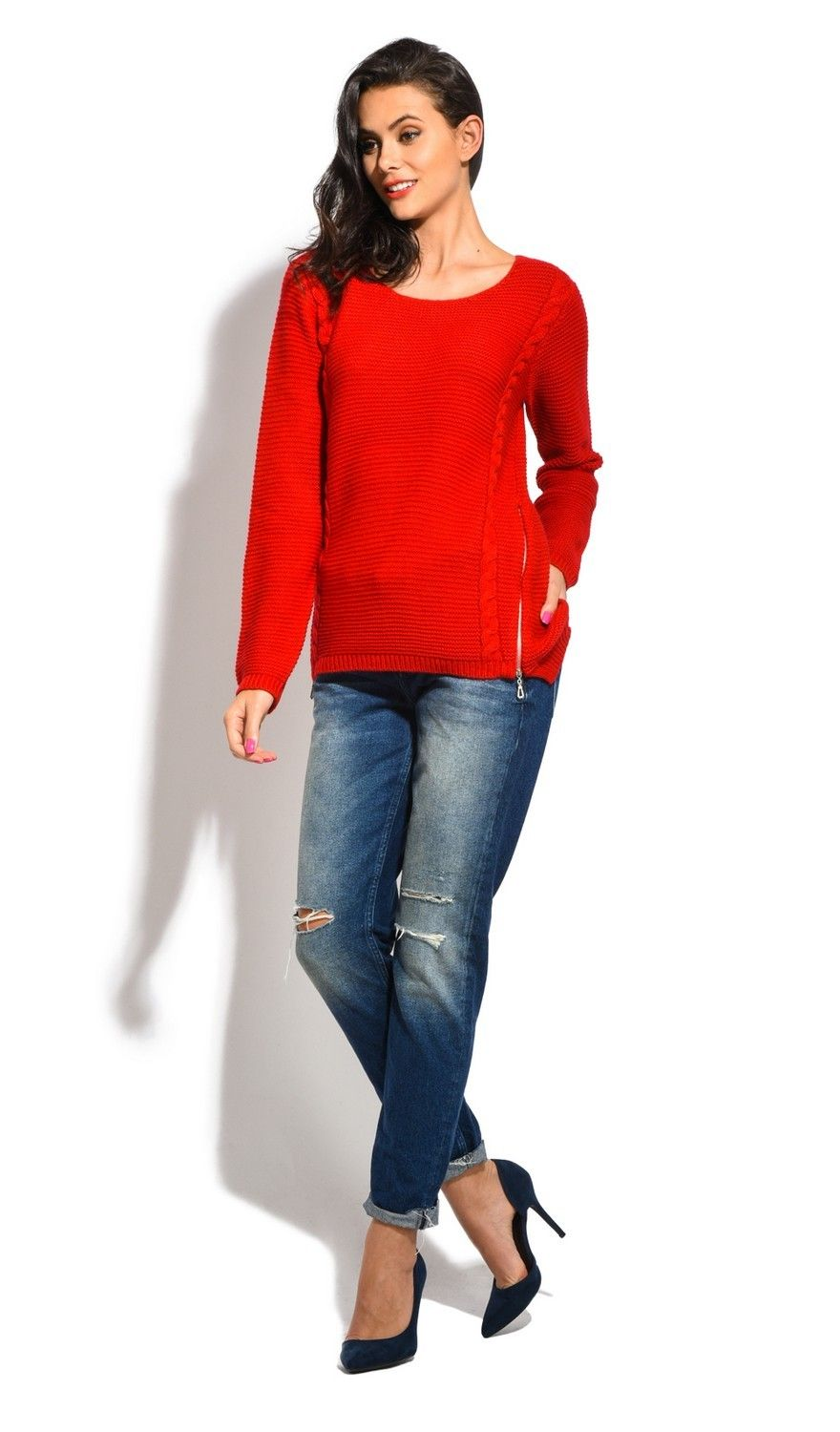 Assuili Round Neck Long Sleeve Ribbed Sweater in Red