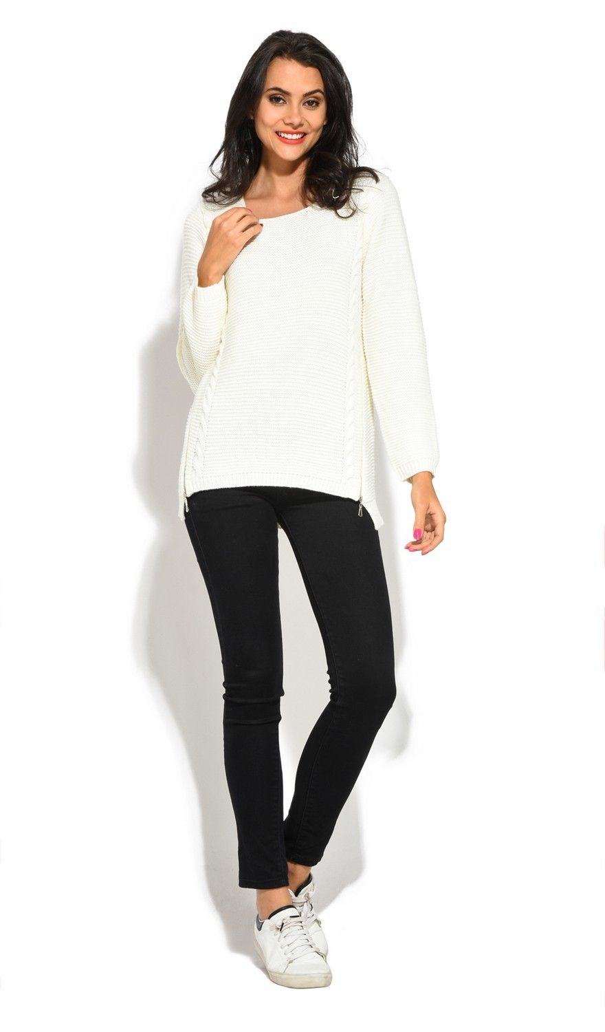 Assuili Round Neck Long Sleeve Ribbed Sweater in Natural