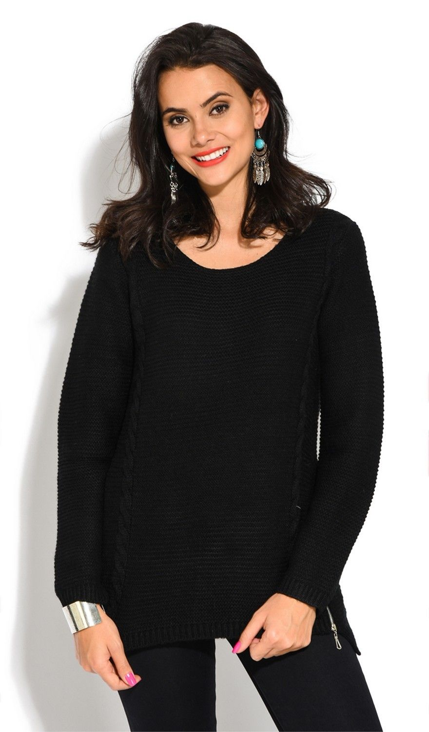 Assuili Round Neck Long Sleeve Ribbed Sweater in Black