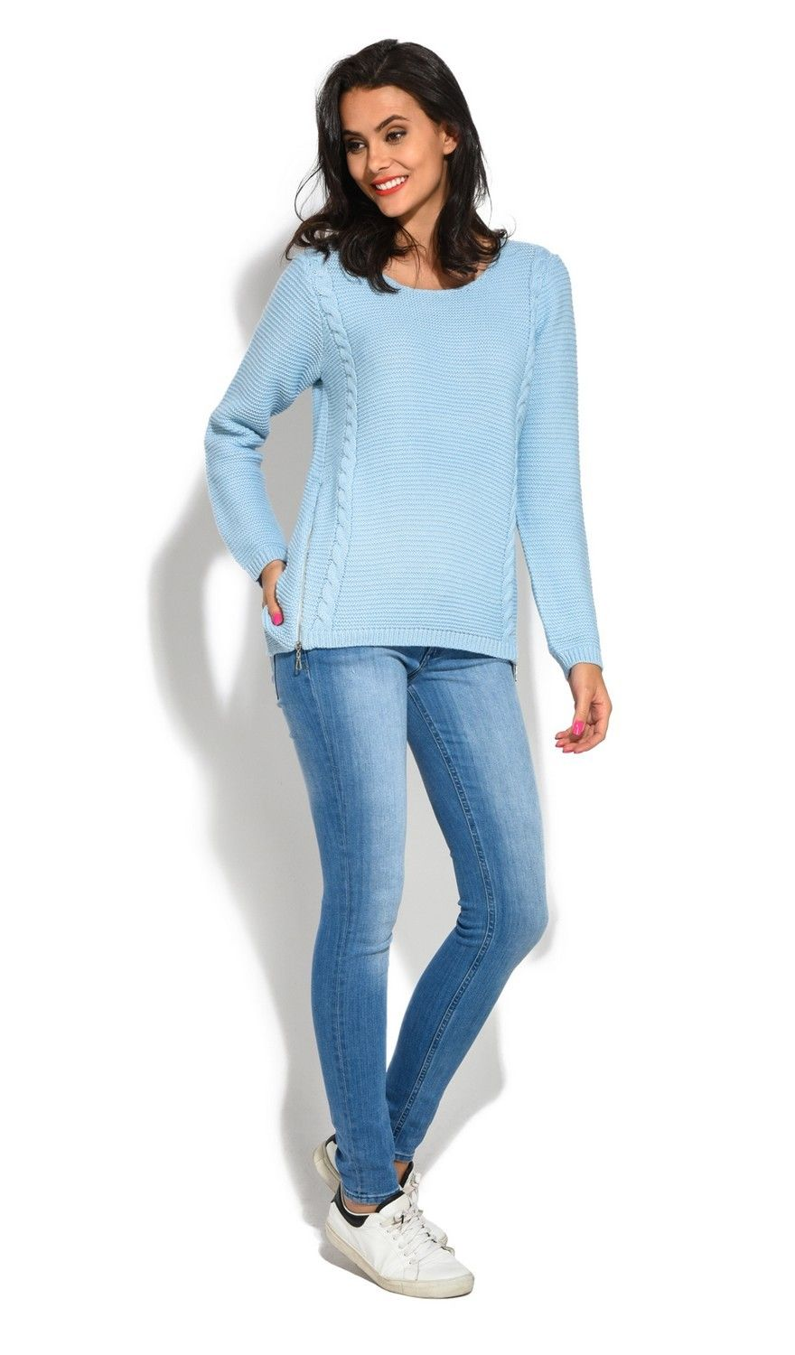 Assuili Round Neck Long Sleeve Ribbed Sweater in Blue