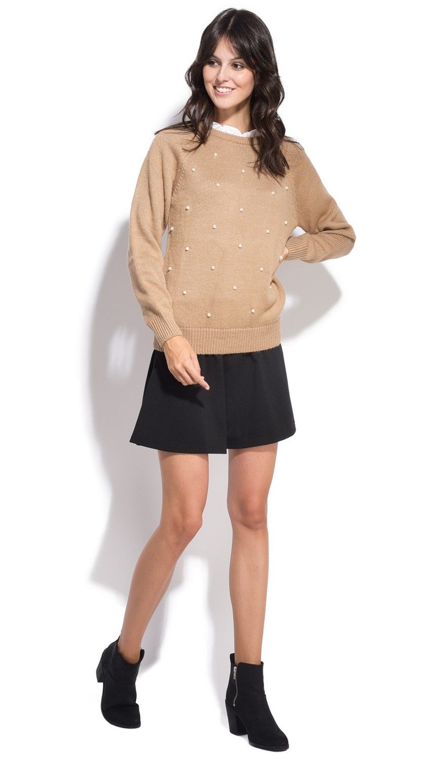 Assuili Ruffle Neck Long Sleeve Ribbed Sweater in Beige