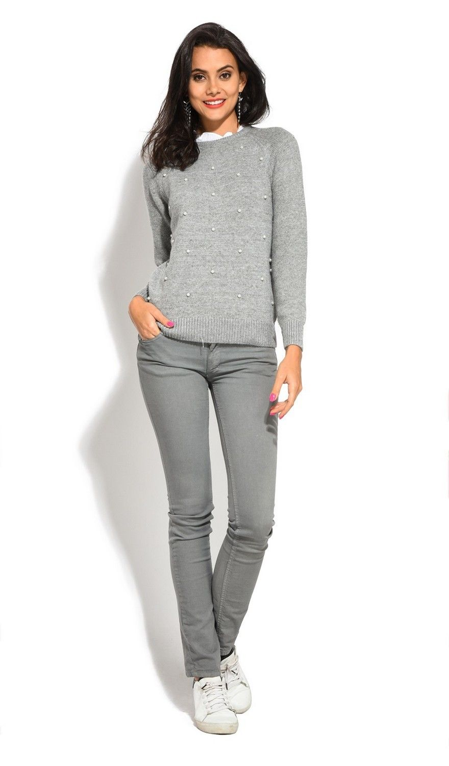 Assuili Ruffle Neck Long Sleeve Ribbed Sweater in Grey
