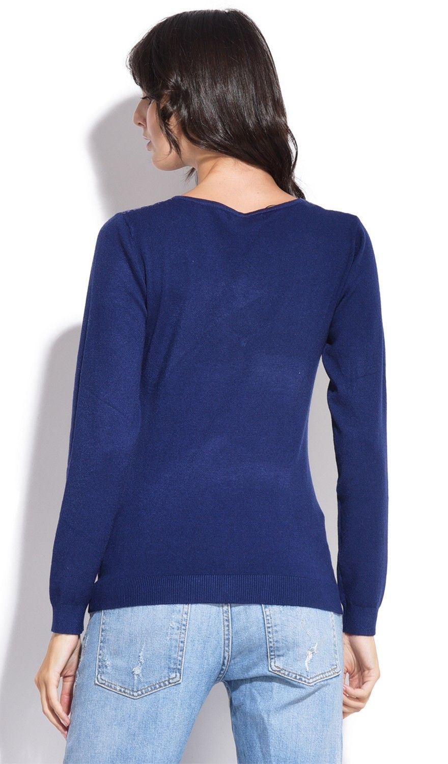 Assuili V-neck Long Sleeve Sweater with Lace in Navy