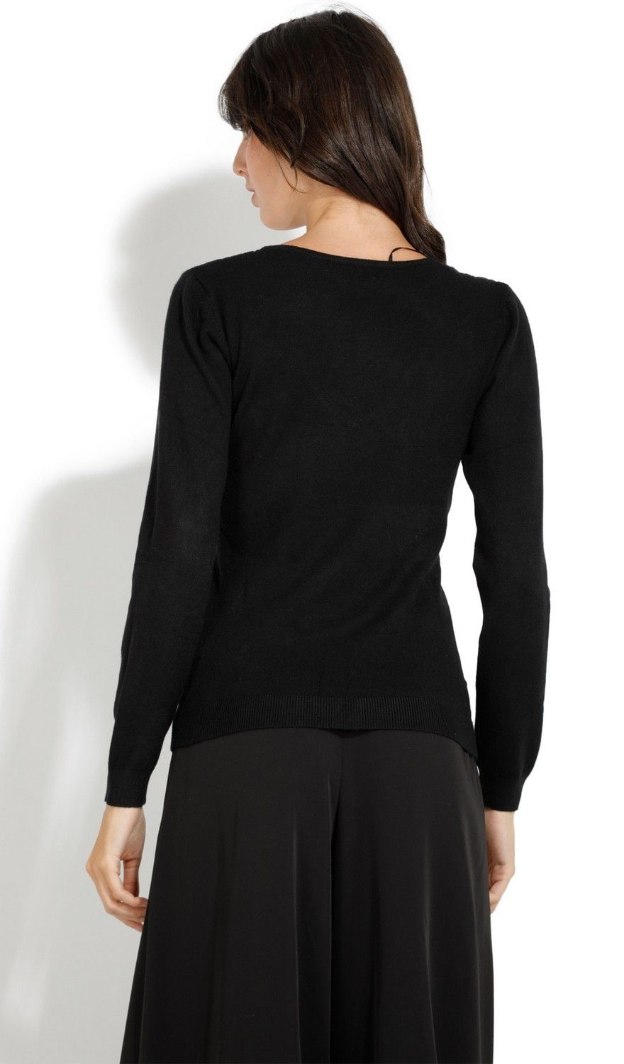 Assuili V-neck Long Sleeve Sweater with Lace in Black