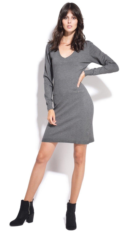Assuili V-neck Dress with Shoulder Buttons in Grey