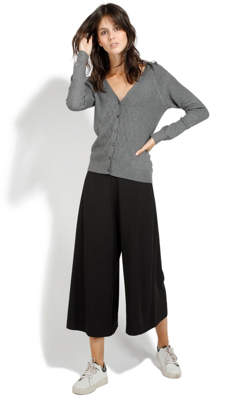 Assuili V-neck Long Sleeve Open Stitch-work Cardigan in Grey
