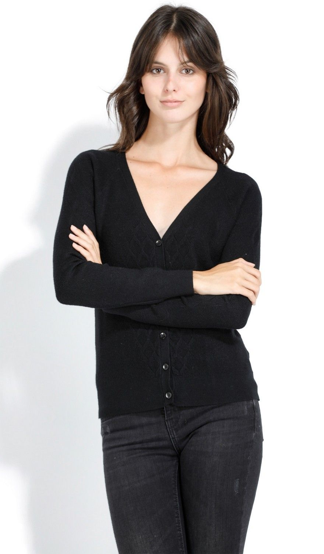 Assuili V-neck Long Sleeve Open Stitch-work Cardigan in Black