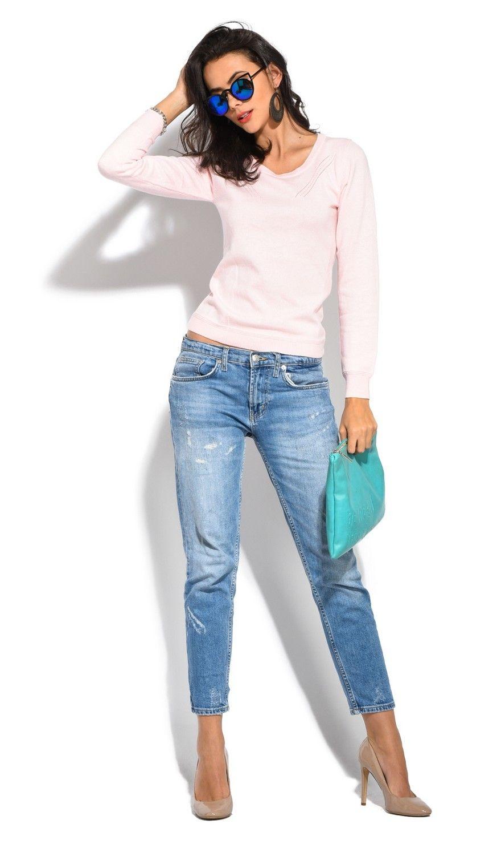 Assuili Round Neck Long Sleeve Open Stitch-work Sweater in Pink