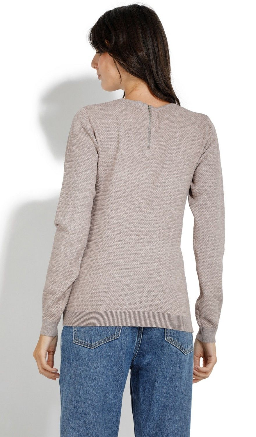 Assuili Round Neck Zip Back Sweater in Beige