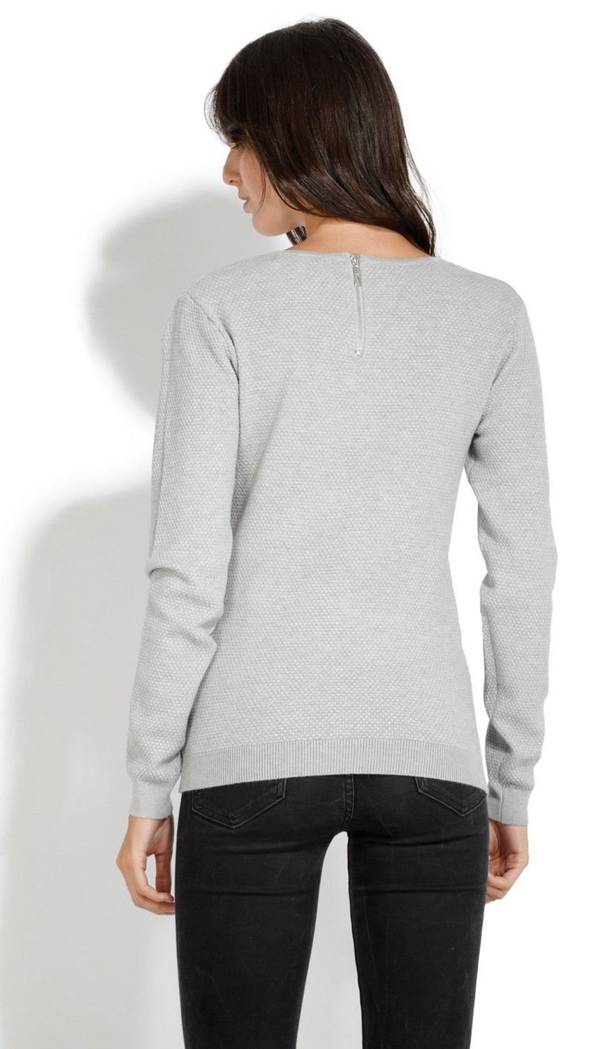 Assuili Round Neck Zip Back Sweater in Light Grey