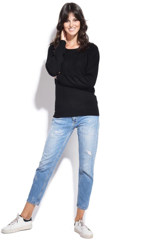 Assuili Round Neck Zip Back Sweater in Black