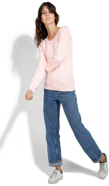 Assuili Round Neck Zip Back Sweater in Pink