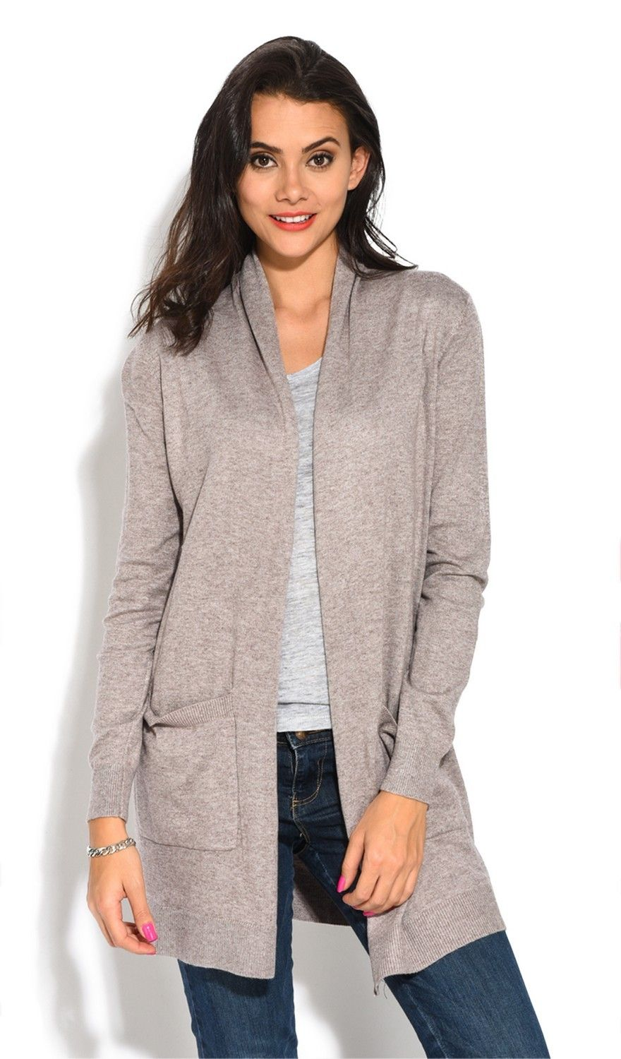 Assuili Longline Long Sleeve Cardigan with Pockets in Beige