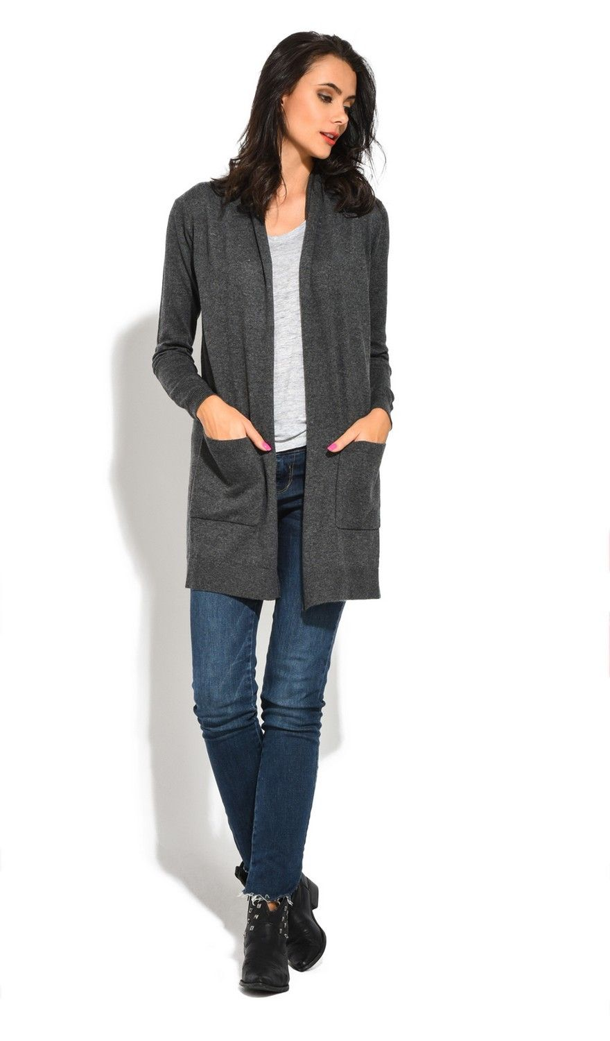 Assuili Longline Long Sleeve Cardigan with Pockets in Grey