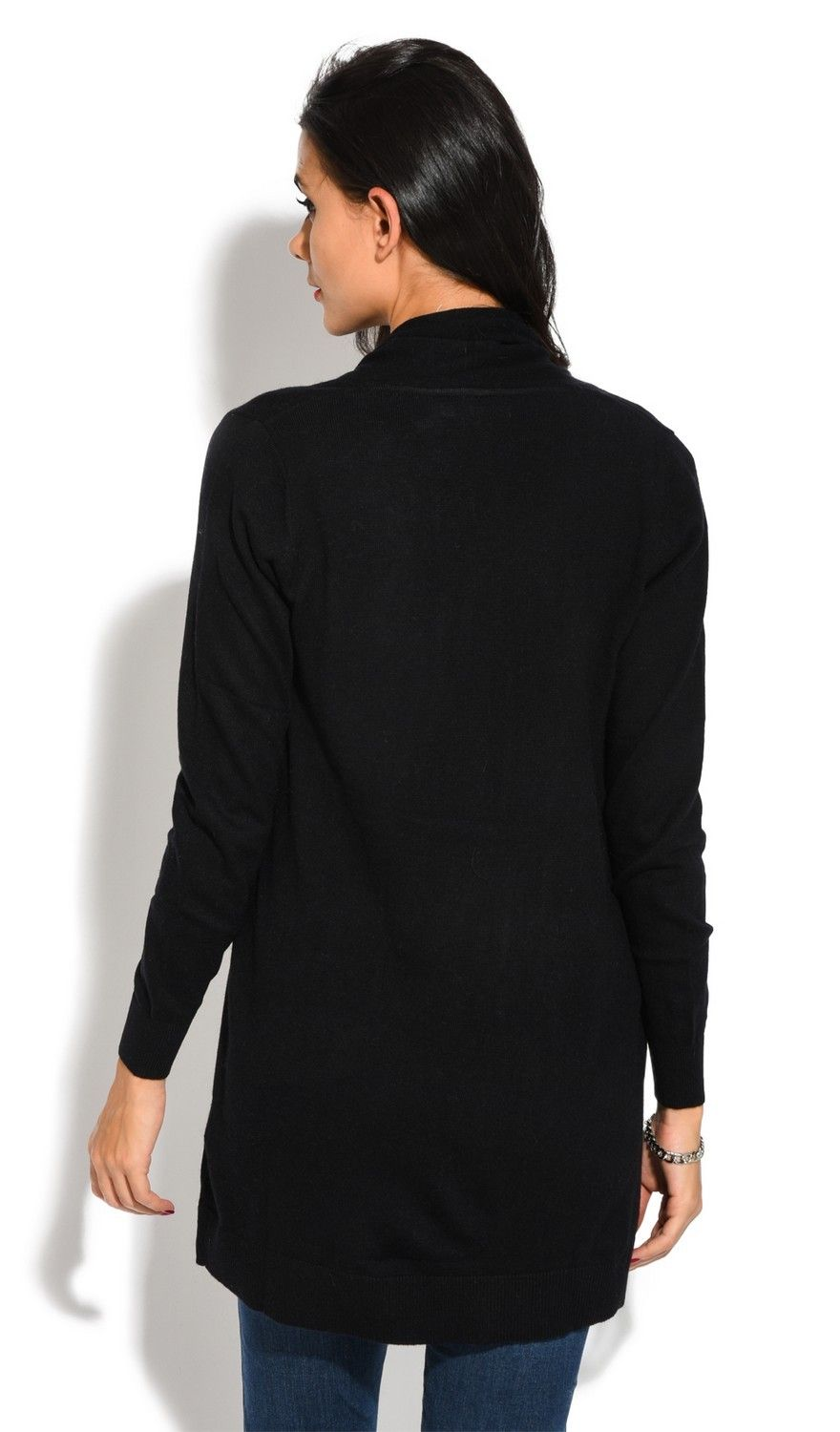 Assuili Longline Long Sleeve Cardigan with Pockets in Black