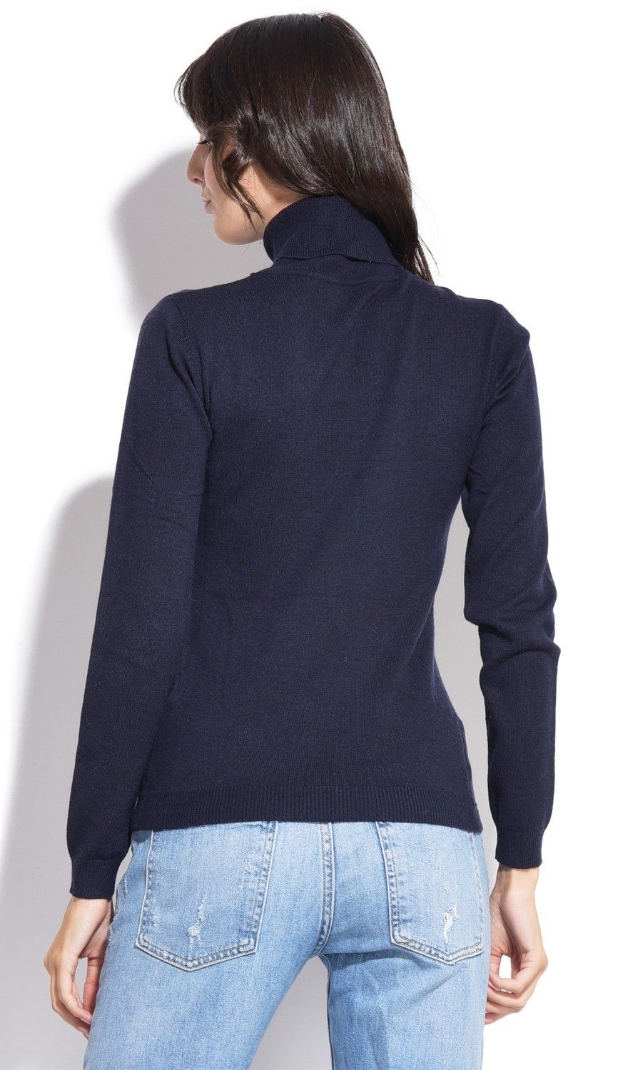 Assuili Turtleneck Ribbed Front Sweater in Navy