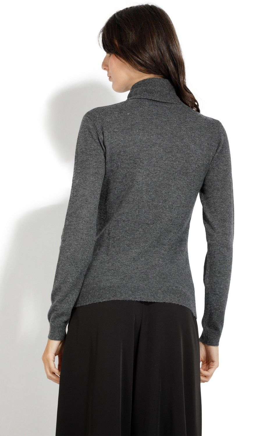 Assuili Turtleneck Ribbed Front Sweater in Grey