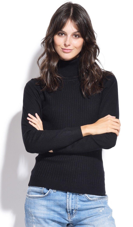 Assuili Turtleneck Ribbed Front Sweater in Black