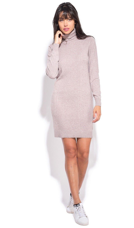 Assuili Turtleneck Dress in Beige