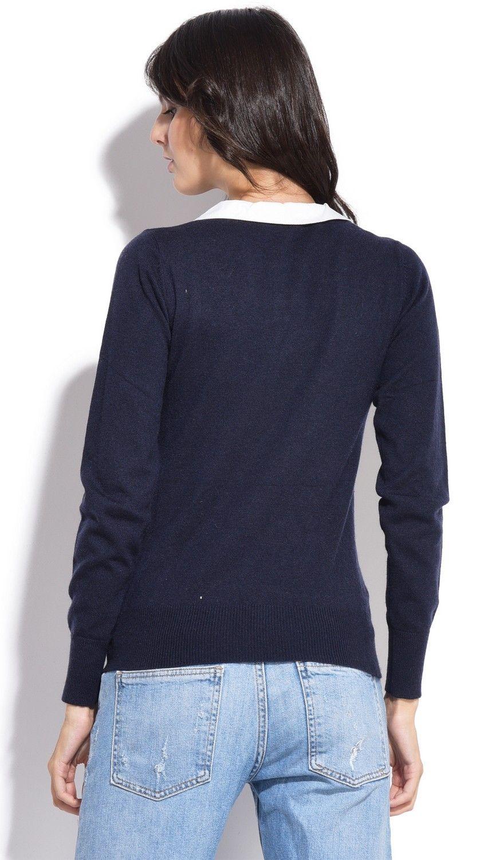 Assuili Buttoned Peter Pan Collar Sweater in Navy