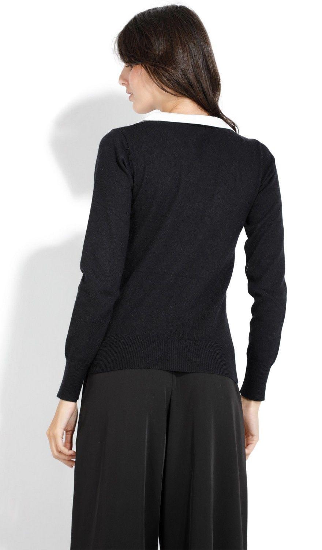 Assuili Buttoned Peter Pan Collar Sweater in Black