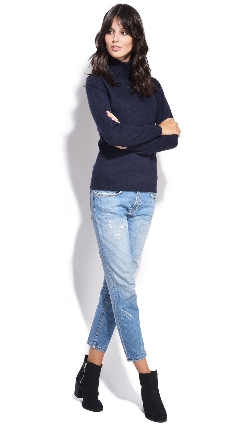 Assuili Shirt Collar Sweater in Navy