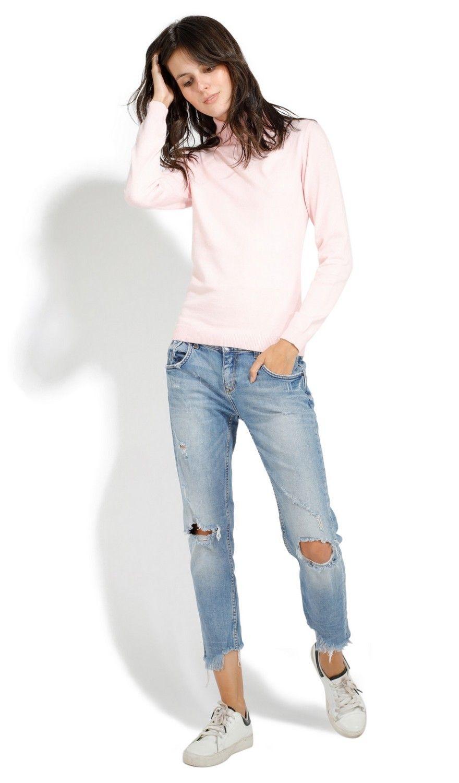 Assuili Shirt Collar Sweater in Pink