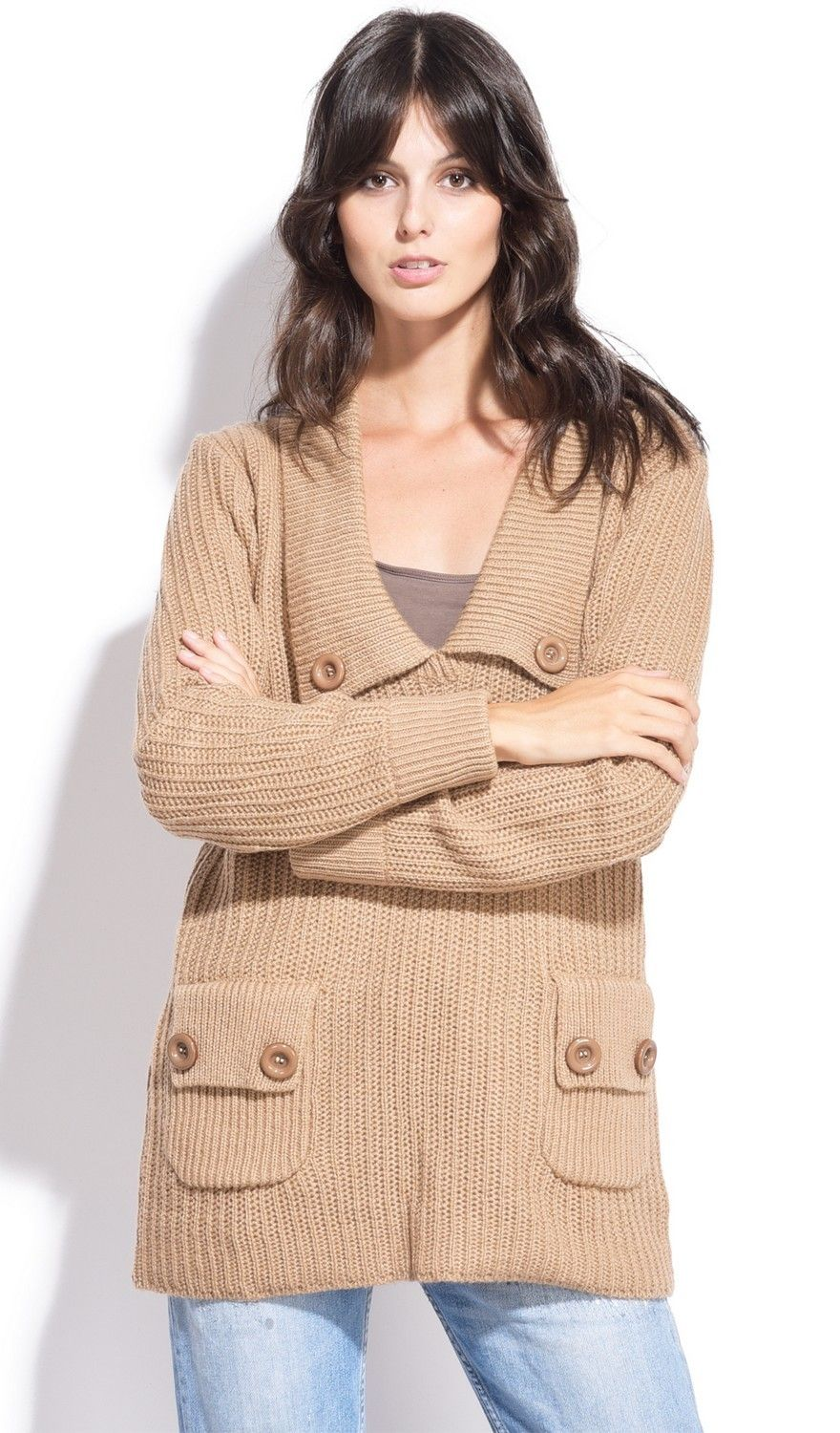 Assuili Buttoned Collar Sweater with Pockets in Beige