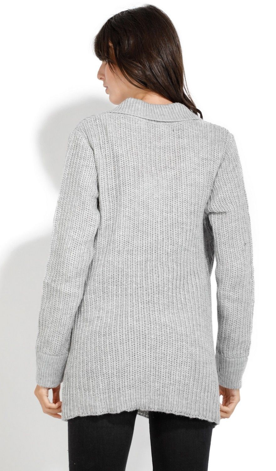 Assuili Buttoned Collar Sweater with Pockets in Grey