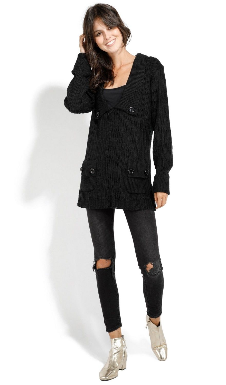 Assuili Buttoned Collar Sweater with Pockets in Black