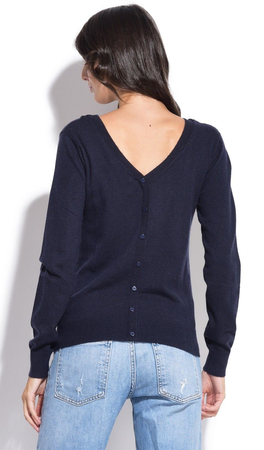 Assuili Boat Neck Buttoned Back Sweater in Navy