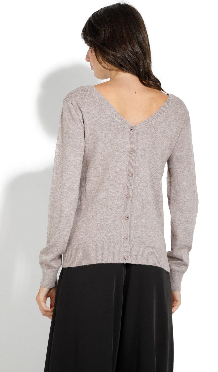 Assuili Boat Neck Buttoned Back Sweater in Beige