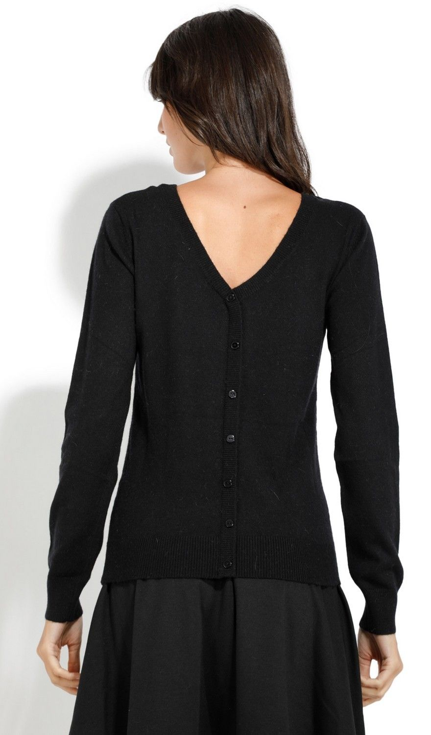 Assuili Boat Neck Buttoned Back Sweater in Black