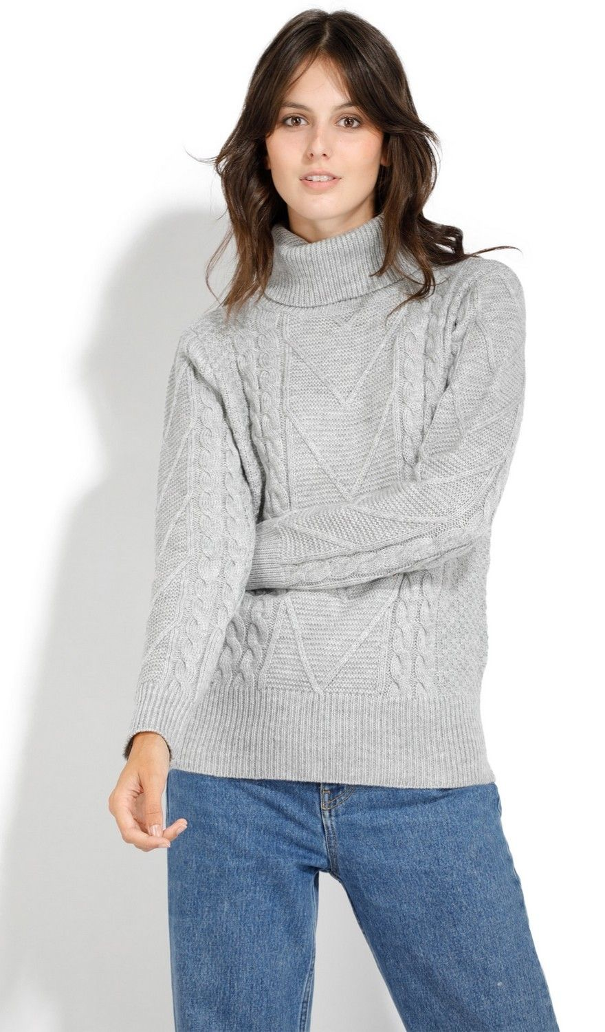 Assuili Roll Neck Twisted Yarn Sweater in Grey