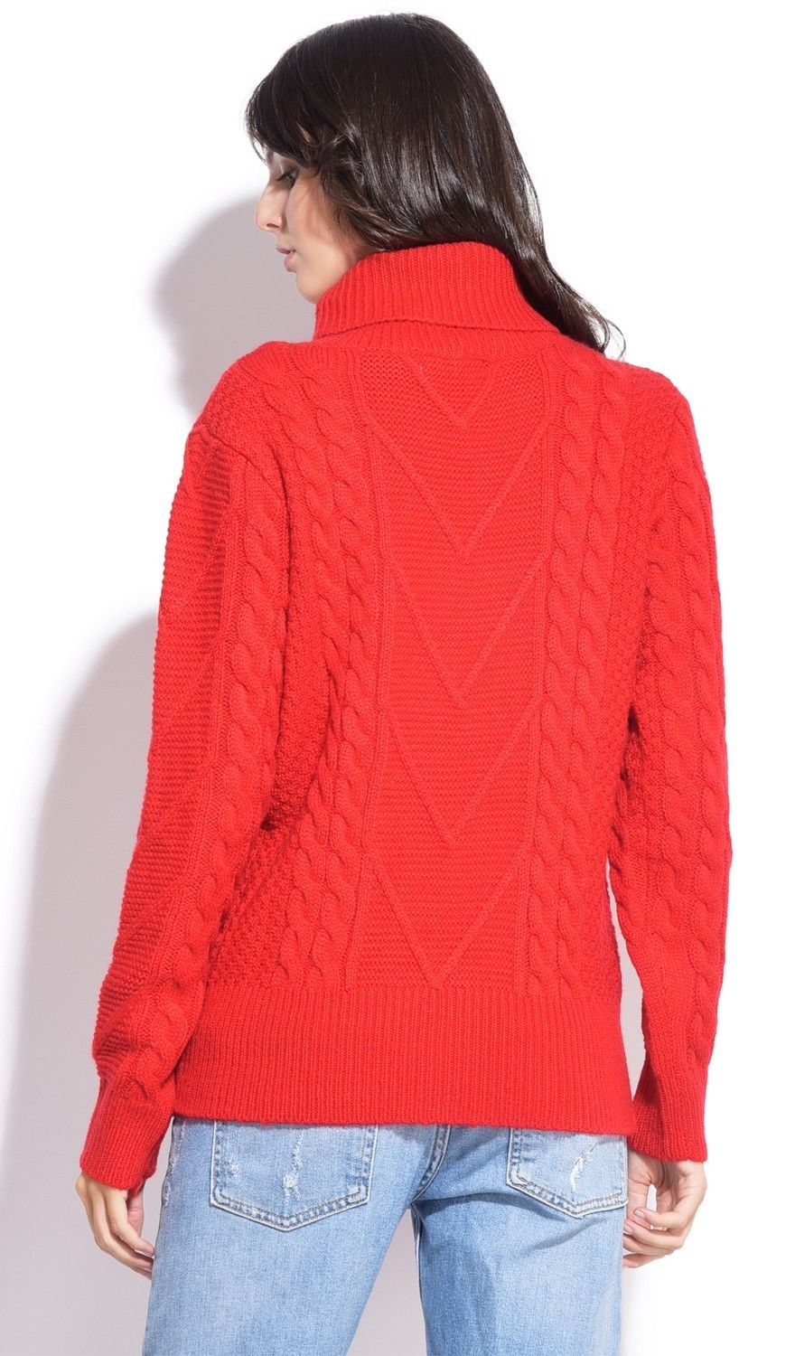 Assuili Roll Neck Twisted Yarn Sweater in Red