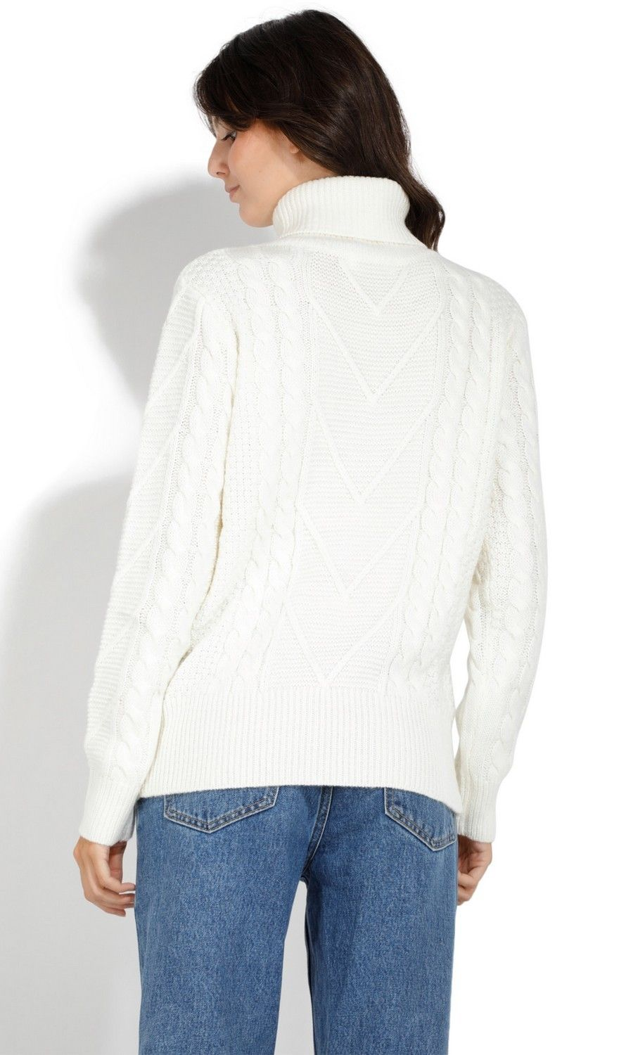 Assuili Roll Neck Twisted Yarn Sweater in Natural