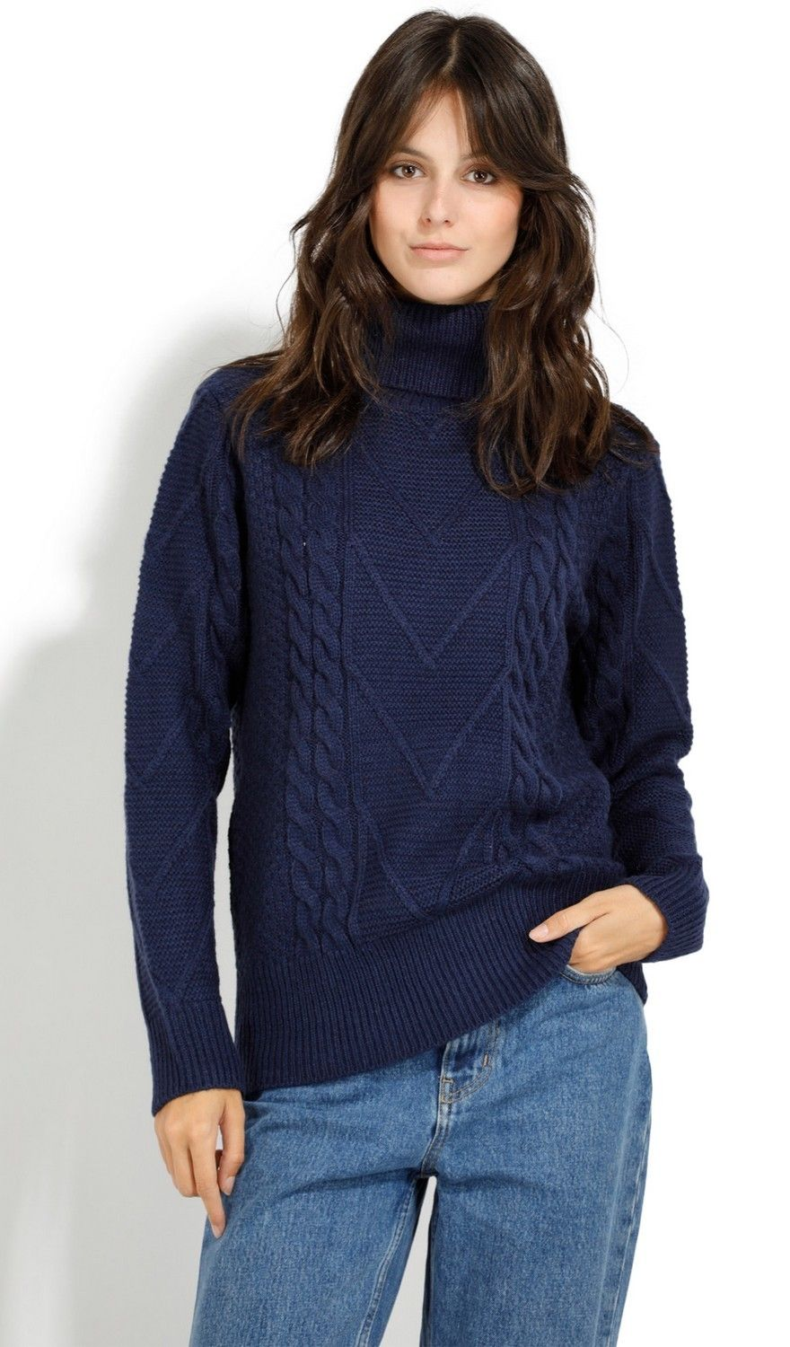 Assuili Roll Neck Twisted Yarn Sweater in Navy