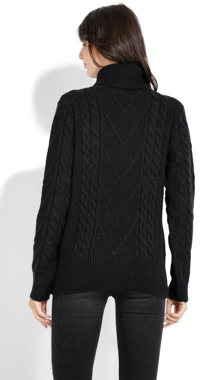 Assuili Roll Neck Twisted Yarn Sweater in Black