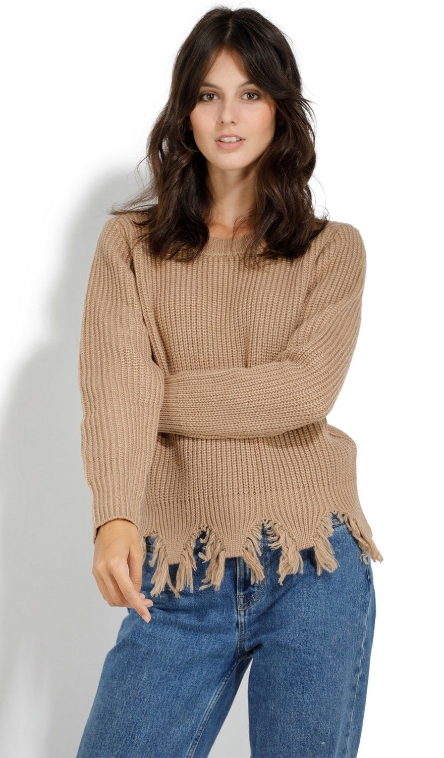 Assuili Crew Neck Ribbed Sweater with Distressed Hem in Beige