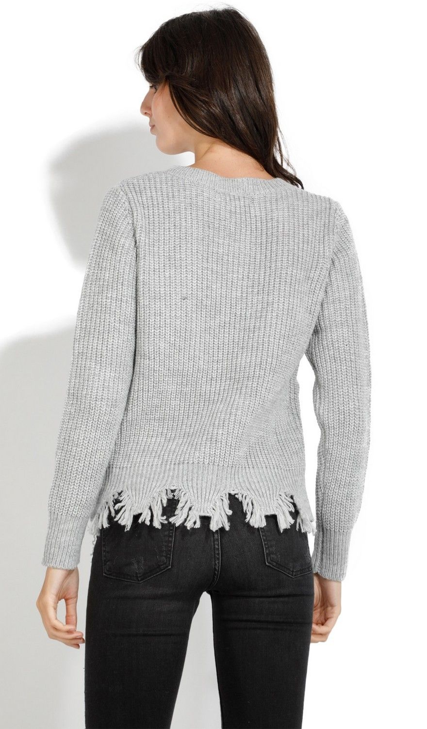 Assuili Crew Neck Ribbed Sweater with Distressed Hem in Grey