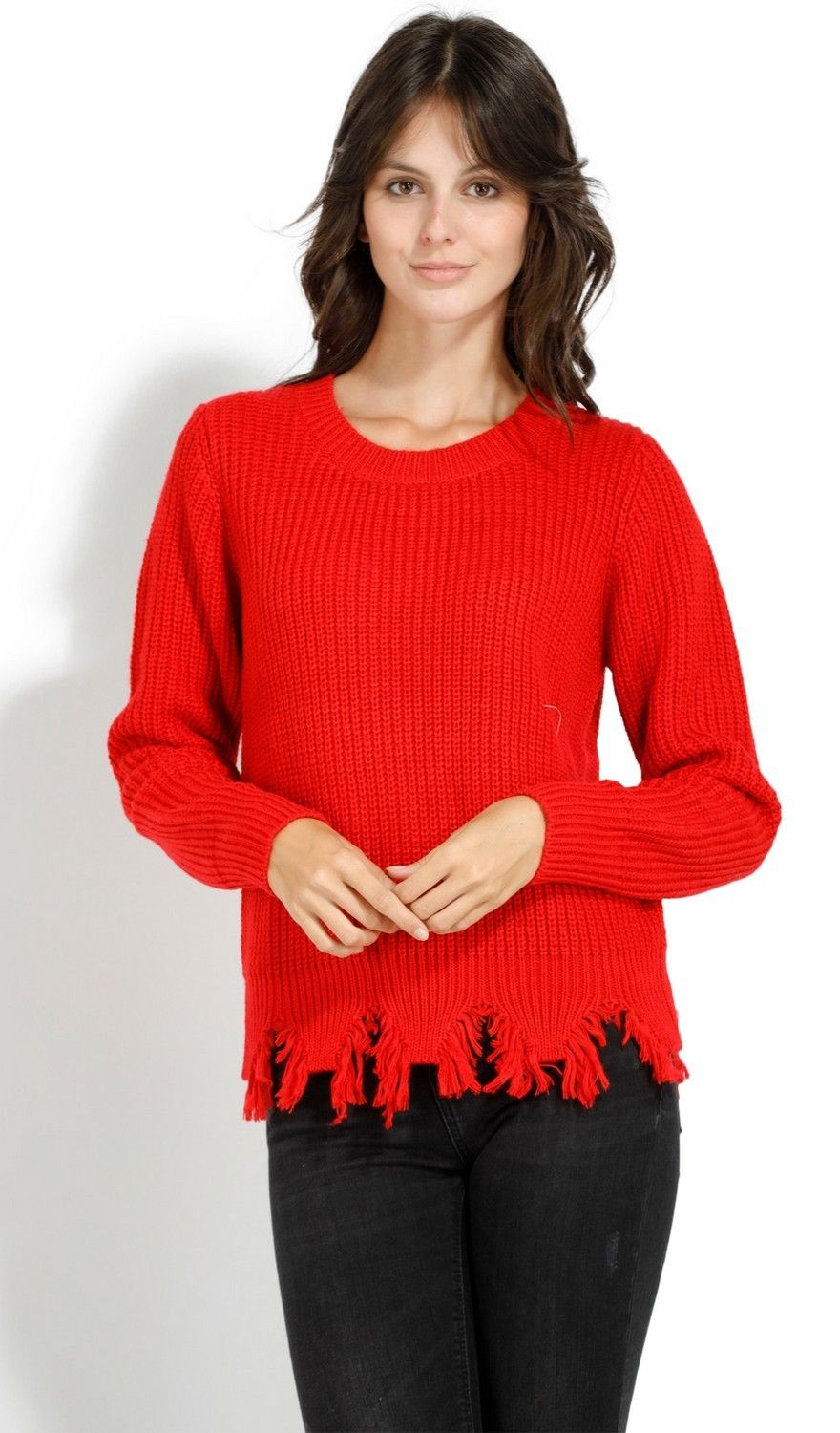 Assuili Crew Neck Ribbed Sweater with Distressed Hem in Red