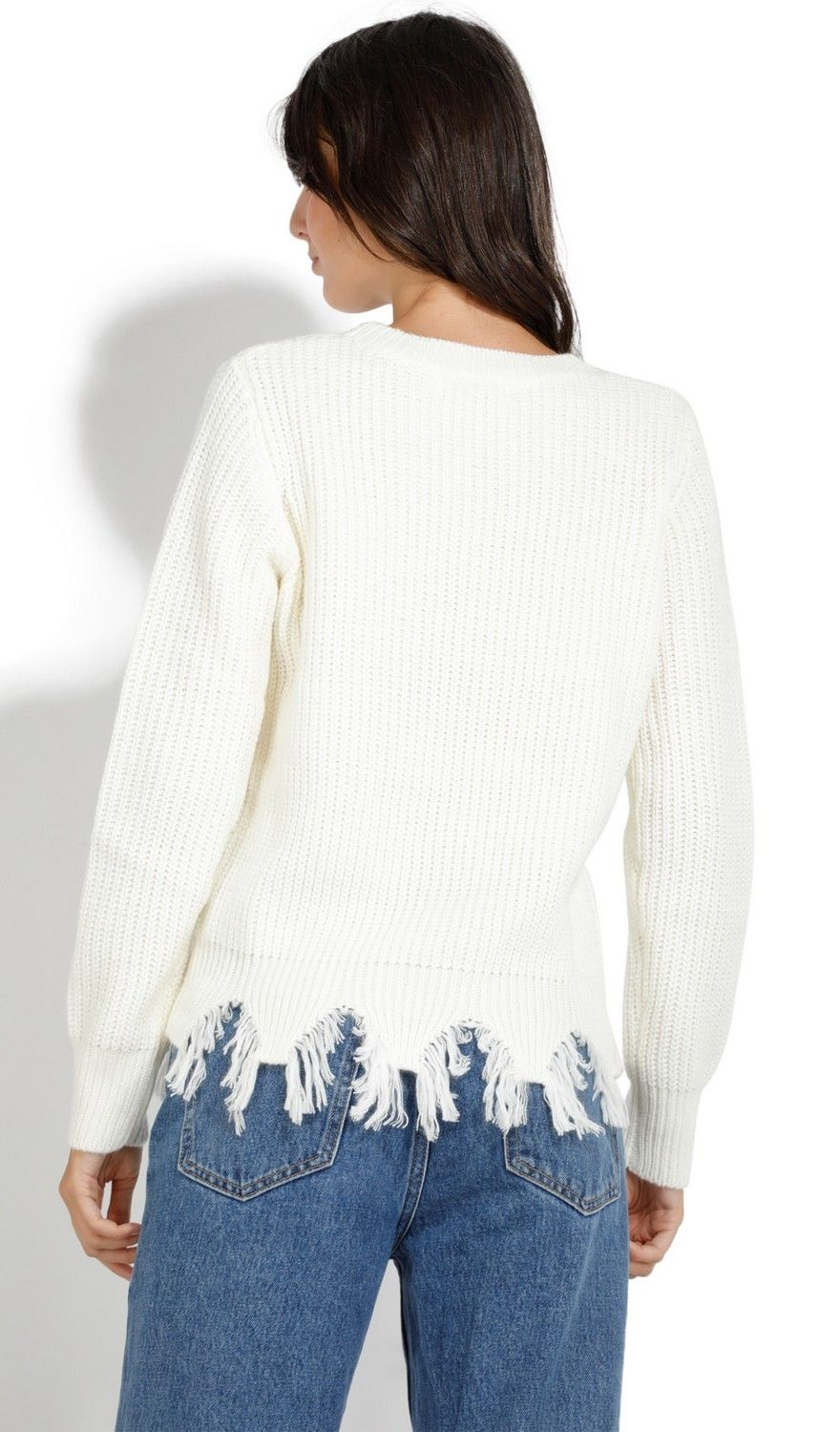 Assuili Crew Neck Ribbed Sweater with Distressed Hem in Natural