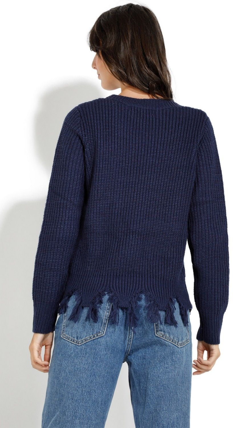 Assuili Crew Neck Ribbed Sweater with Distressed Hem in Navy